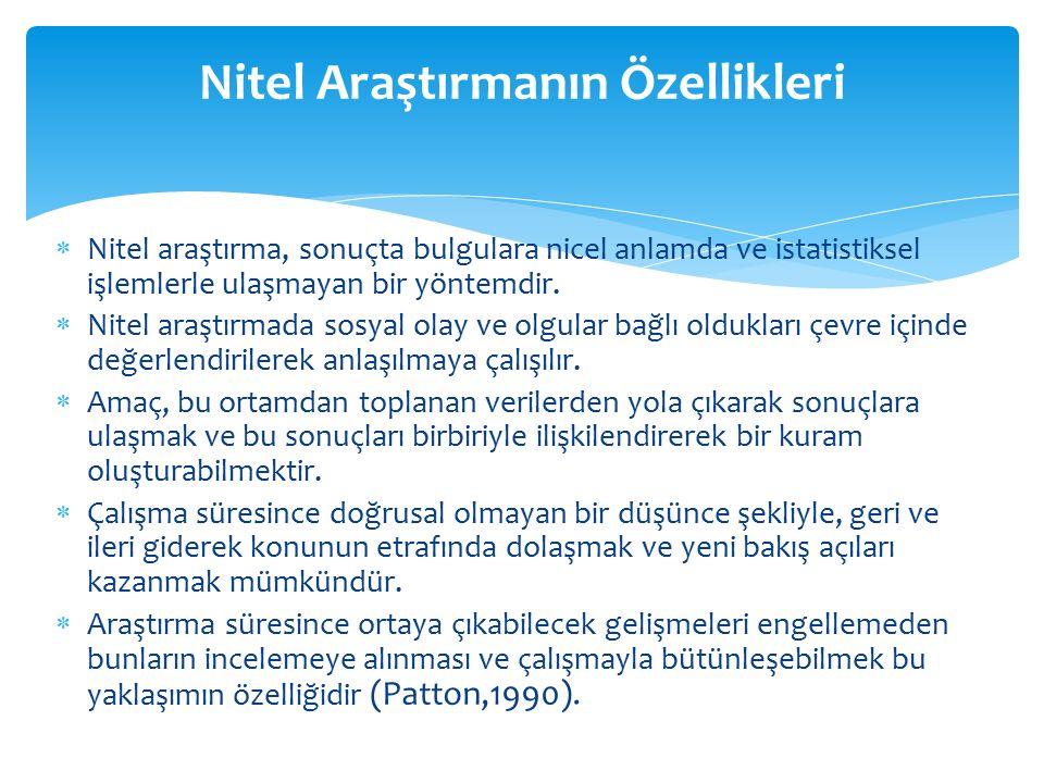  Nitel araştırma, sonuçta bulgulara nicel anlamda ve istatistiksel işlemlerle ulaşmayan bir yöntemdir.