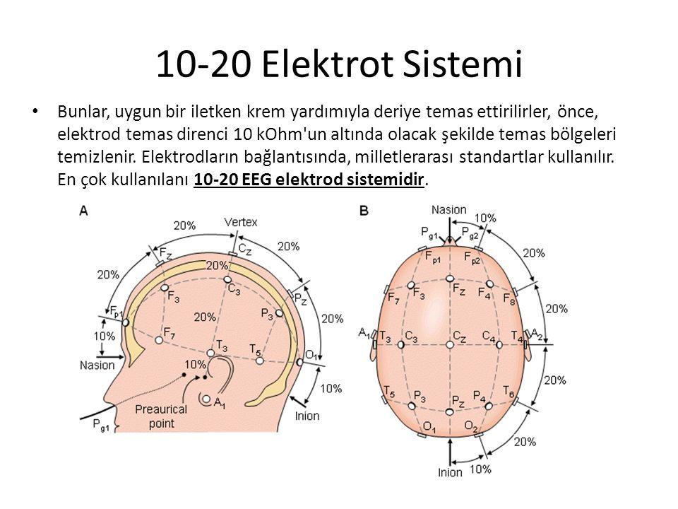 10-20 Elektrot Sistemi Bunlar, uygun bir iletken krem yardımıyla deriye temas ettirilirler, önce, elektrod temas direnci 10 kOhm'un altında olacak şek