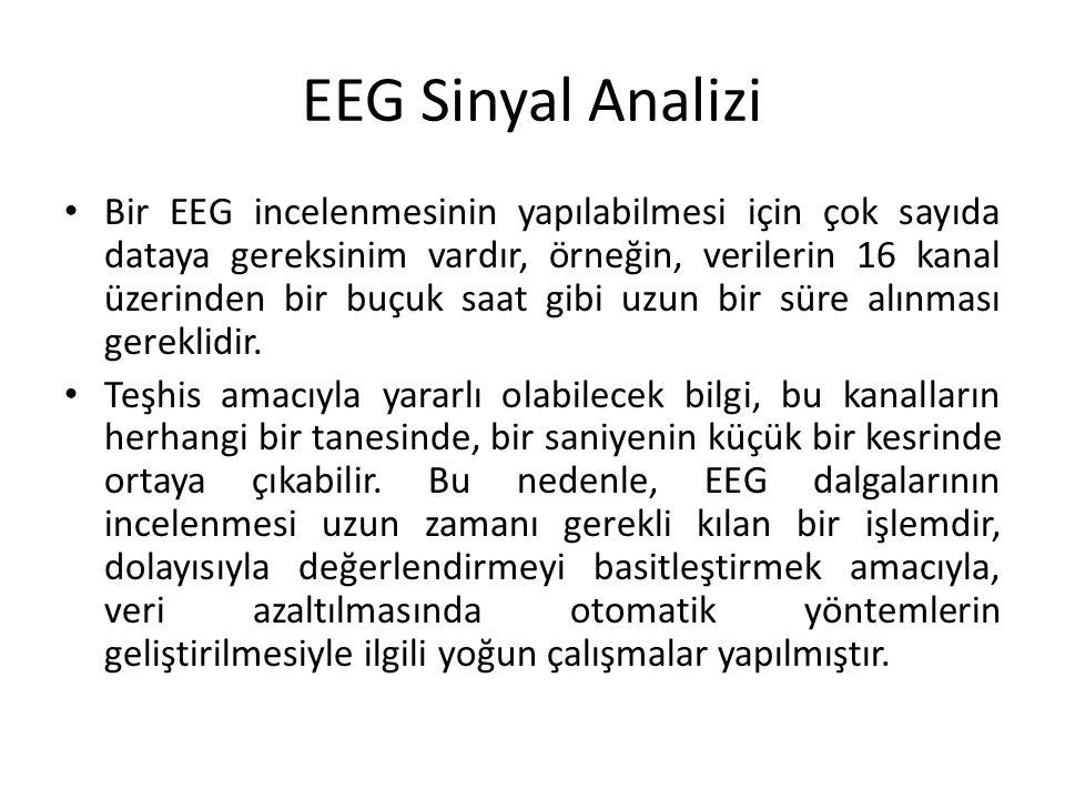 EEG Sinyal Analizi Bir EEG incelenmesinin yapılabilmesi için çok sayıda dataya gereksinim vardır, örneğin, verilerin 16 kanal üzerinden bir buçuk saat