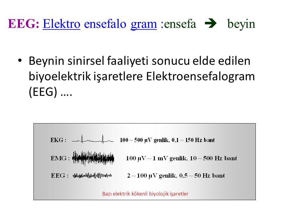 EEG: Elektro ensefalo gram :ensefa  beyin Beynin sinirsel faaliyeti sonucu elde edilen biyoelektrik işaretlere Elektroensefalogram (EEG) …. Bazı elek