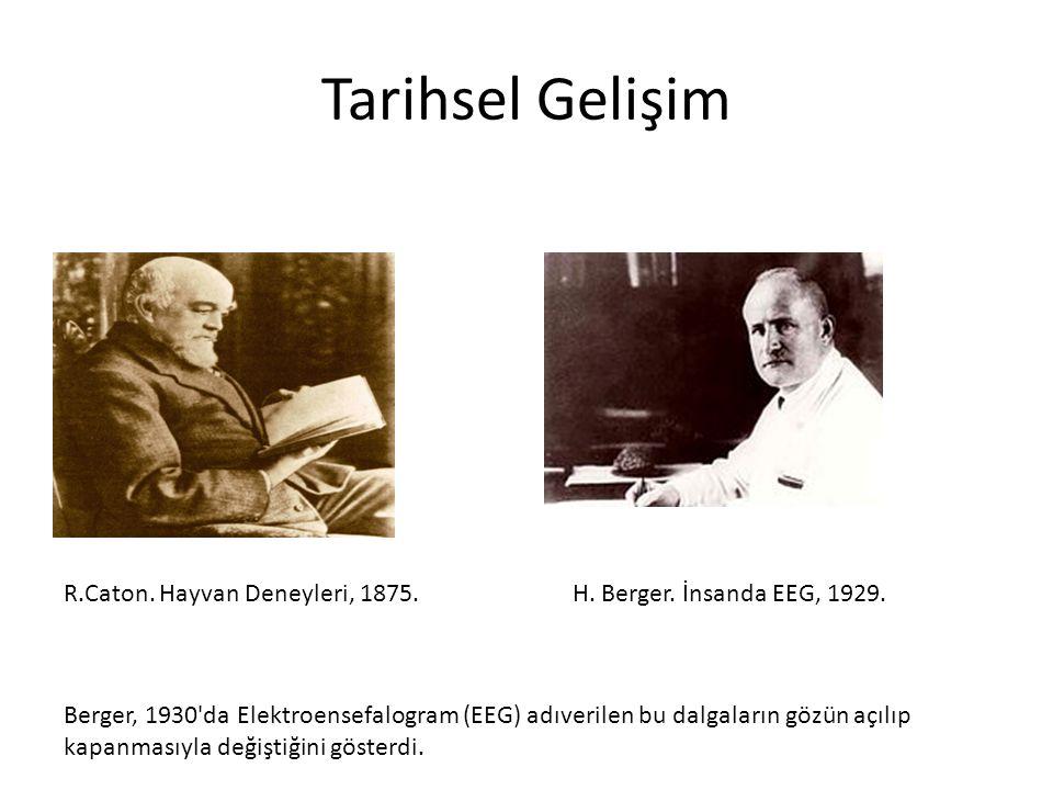 Tarihsel Gelişim R.Caton. Hayvan Deneyleri, 1875.H. Berger. İnsanda EEG, 1929. Berger, 1930'da Elektroensefalogram (EEG) adıverilen bu dalgaların gözü