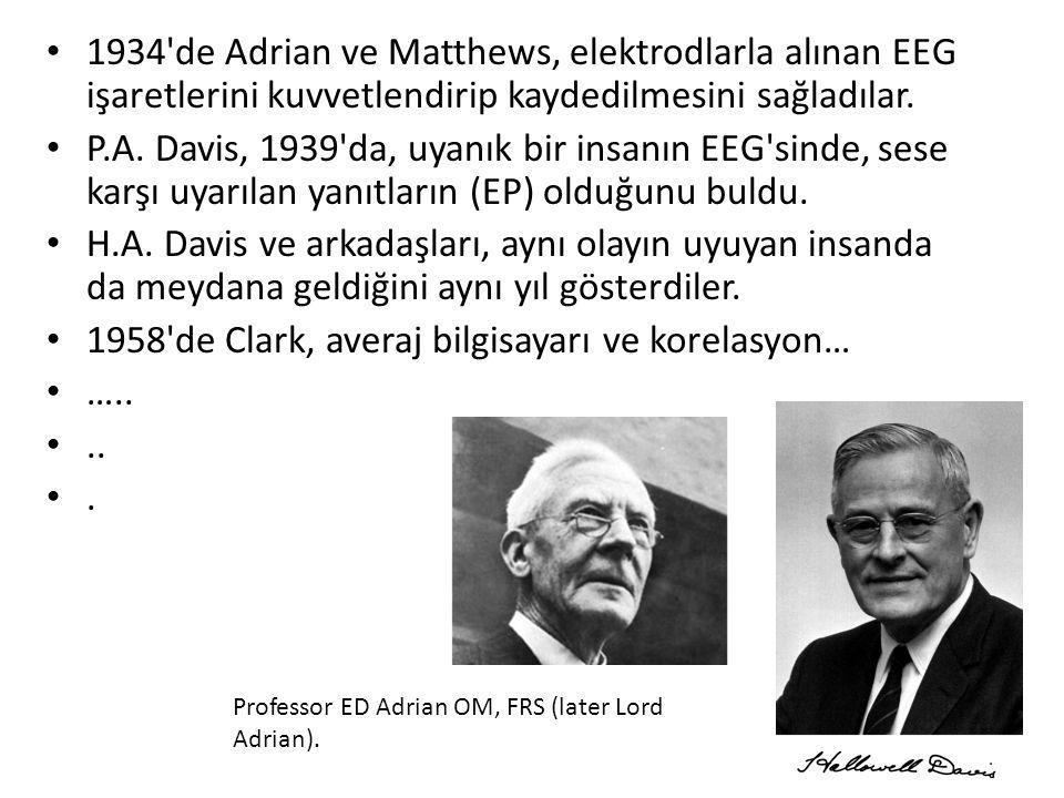 1934'de Adrian ve Matthews, elektrodlarla alınan EEG işaretlerini kuvvetlendirip kaydedilmesini sağladılar. P.A. Davis, 1939'da, uyanık bir insanın EE