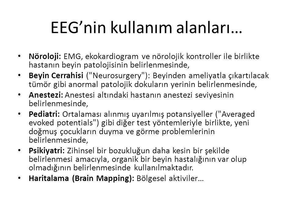 EEG'nin kullanım alanları… Nöroloji: EMG, ekokardiogram ve nörolojik kontroller ile birlikte hastanın beyin patolojisinin belirlenmesinde, Beyin Cerra