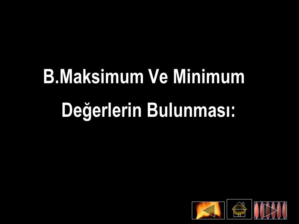 B.Maksimum Ve Minimum Değerlerin Bulunması: