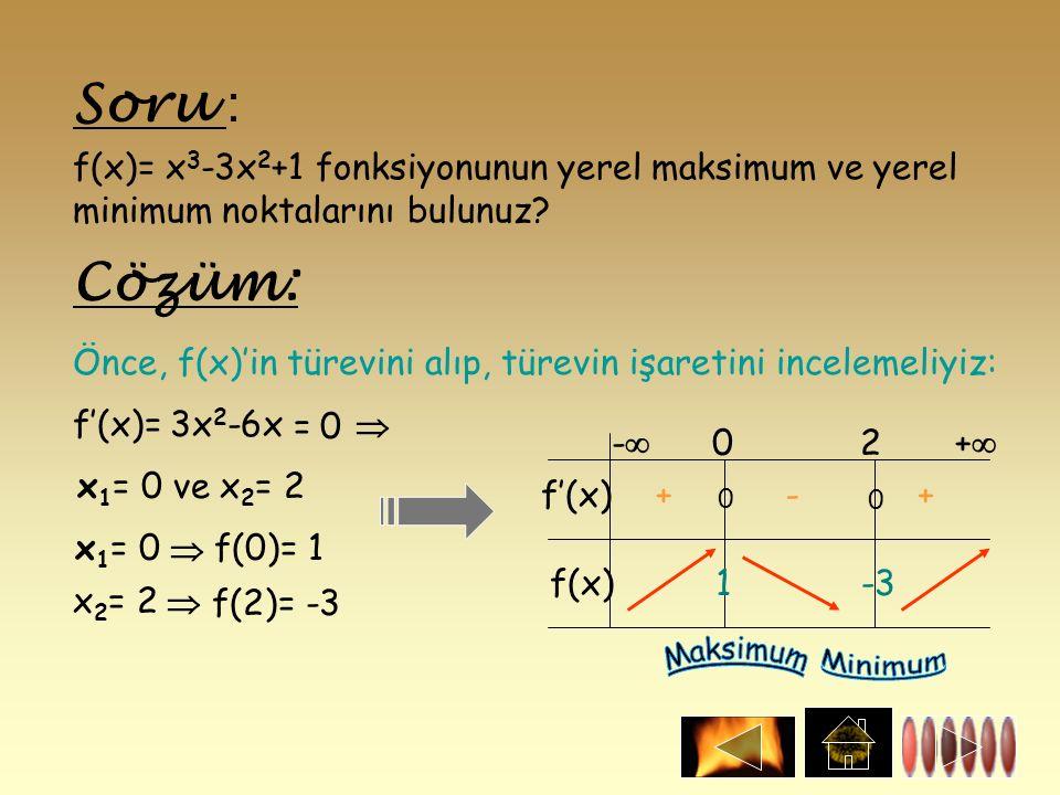 Soru : f(x)= x 3 -3x 2 +1 fonksiyonunun yerel maksimum ve yerel minimum noktalarını bulunuz? Önce, f(x)'in türevini alıp, türevin işaretini incelemeli