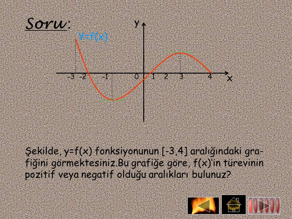 Soru : Y=f(x) y x -3 -2 -1 0 1 2 3 4 Şekilde, y=f(x) fonksiyonunun [-3,4] aralığındaki gra- fiğini görmektesiniz.Bu grafiğe göre, f(x)'in türevinin pozitif veya negatif olduğu aralıkları bulunuz?