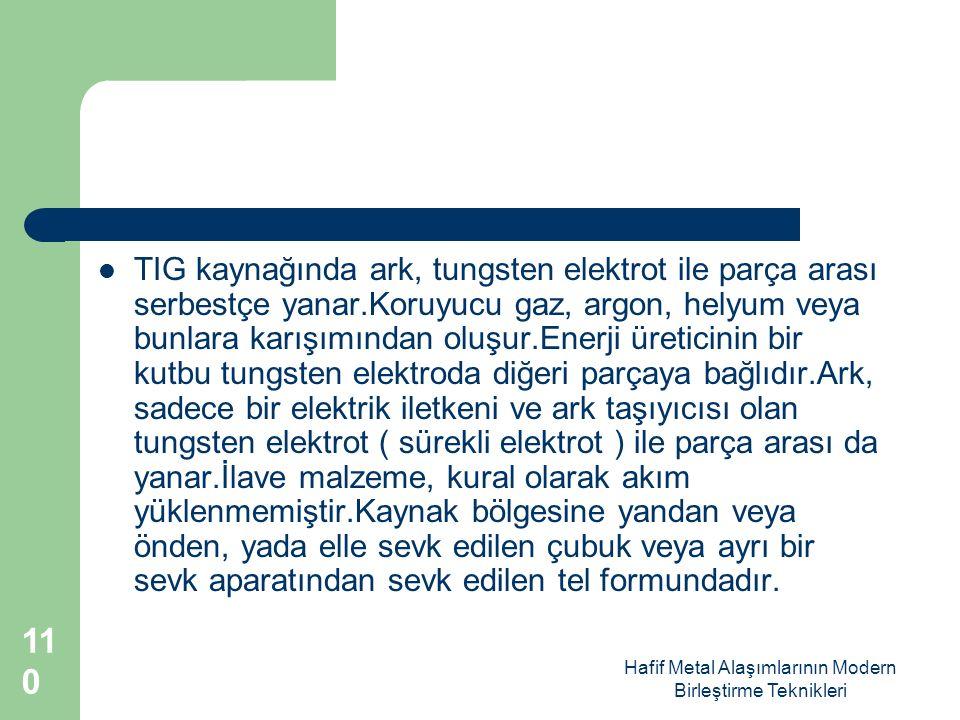 Hafif Metal Alaşımlarının Modern Birleştirme Teknikleri TIG kaynağında ark, tungsten elektrot ile parça arası serbestçe yanar.Koruyucu gaz, argon, helyum veya bunlara karışımından oluşur.Enerji üreticinin bir kutbu tungsten elektroda diğeri parçaya bağlıdır.Ark, sadece bir elektrik iletkeni ve ark taşıyıcısı olan tungsten elektrot ( sürekli elektrot ) ile parça arası da yanar.İlave malzeme, kural olarak akım yüklenmemiştir.Kaynak bölgesine yandan veya önden, yada elle sevk edilen çubuk veya ayrı bir sevk aparatından sevk edilen tel formundadır.