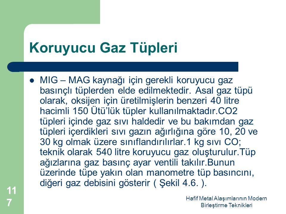 Hafif Metal Alaşımlarının Modern Birleştirme Teknikleri Koruyucu Gaz Tüpleri MIG – MAG kaynağı için gerekli koruyucu gaz basınçlı tüplerden elde edilmektedir.