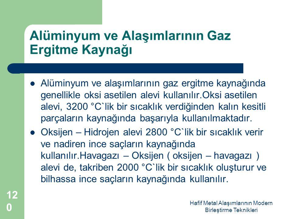 Hafif Metal Alaşımlarının Modern Birleştirme Teknikleri Alüminyum ve Alaşımlarının Gaz Ergitme Kaynağı Alüminyum ve alaşımlarının gaz ergitme kaynağında genellikle oksi asetilen alevi kullanılır.Oksi asetilen alevi, 3200 °C`lik bir sıcaklık verdiğinden kalın kesitli parçaların kaynağında başarıyla kullanılmaktadır.