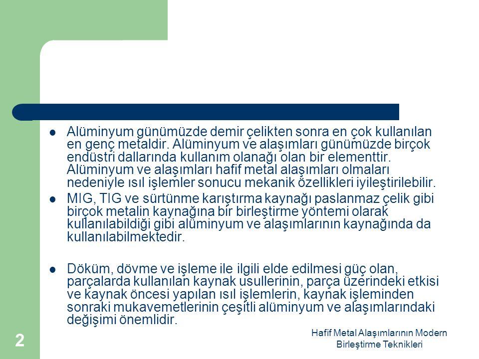 Hafif Metal Alaşımlarının Modern Birleştirme Teknikleri Alüminyum Alaşımları ve Özellikleri Alüminyum katılan alaşım elemanları, mukavemet özelliklerini yükseltir.