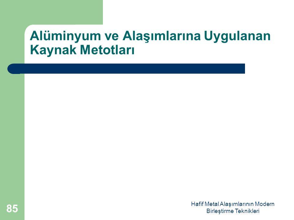 Hafif Metal Alaşımlarının Modern Birleştirme Teknikleri Alüminyum ve Alaşımlarına Uygulanan Kaynak Metotları 85