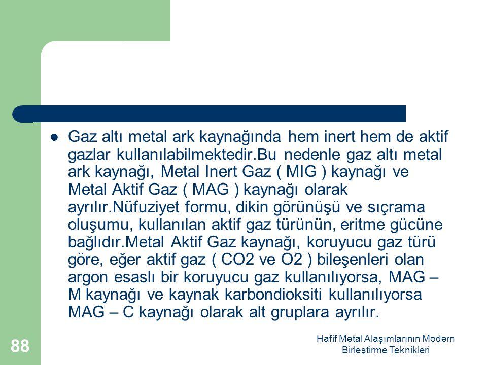 Hafif Metal Alaşımlarının Modern Birleştirme Teknikleri Gaz altı metal ark kaynağında hem inert hem de aktif gazlar kullanılabilmektedir.Bu nedenle gaz altı metal ark kaynağı, Metal Inert Gaz ( MIG ) kaynağı ve Metal Aktif Gaz ( MAG ) kaynağı olarak ayrılır.Nüfuziyet formu, dikin görünüşü ve sıçrama oluşumu, kullanılan aktif gaz türünün, eritme gücüne bağlıdır.Metal Aktif Gaz kaynağı, koruyucu gaz türü göre, eğer aktif gaz ( CO2 ve O2 ) bileşenleri olan argon esaslı bir koruyucu gaz kullanılıyorsa, MAG – M kaynağı ve kaynak karbondioksiti kullanılıyorsa MAG – C kaynağı olarak alt gruplara ayrılır.