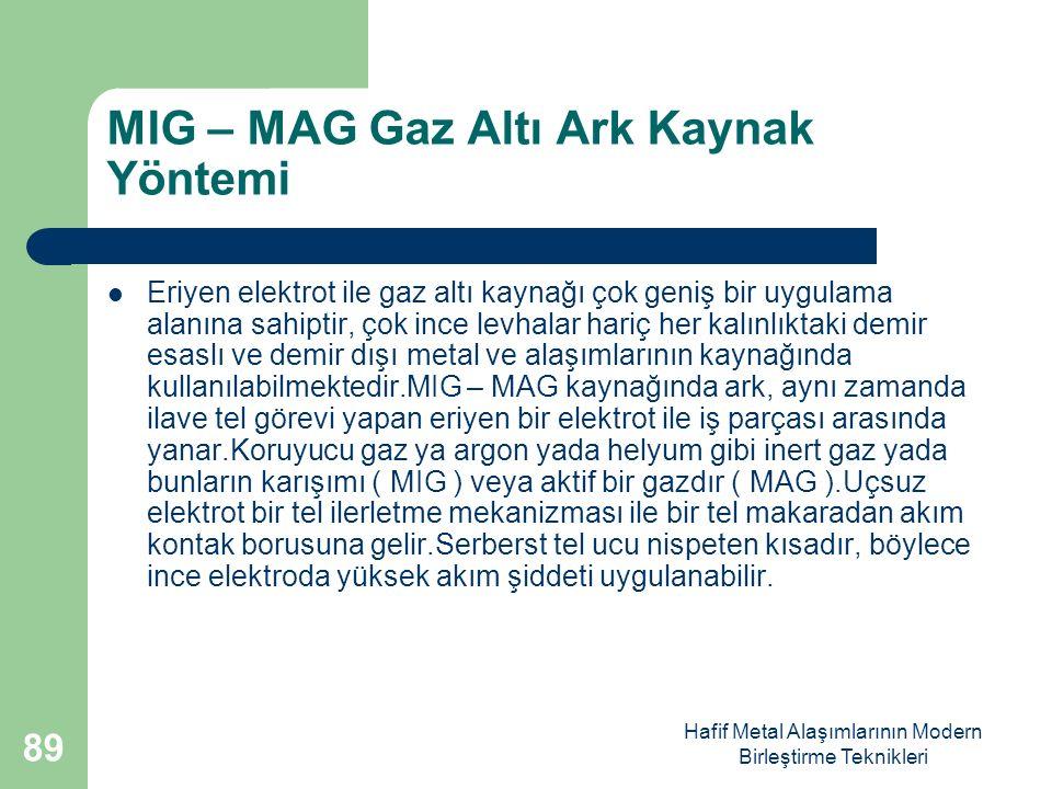 Hafif Metal Alaşımlarının Modern Birleştirme Teknikleri MIG – MAG Gaz Altı Ark Kaynak Yöntemi Eriyen elektrot ile gaz altı kaynağı çok geniş bir uygulama alanına sahiptir, çok ince levhalar hariç her kalınlıktaki demir esaslı ve demir dışı metal ve alaşımlarının kaynağında kullanılabilmektedir.MIG – MAG kaynağında ark, aynı zamanda ilave tel görevi yapan eriyen bir elektrot ile iş parçası arasında yanar.Koruyucu gaz ya argon yada helyum gibi inert gaz yada bunların karışımı ( MIG ) veya aktif bir gazdır ( MAG ).Uçsuz elektrot bir tel ilerletme mekanizması ile bir tel makaradan akım kontak borusuna gelir.Serberst tel ucu nispeten kısadır, böylece ince elektroda yüksek akım şiddeti uygulanabilir.