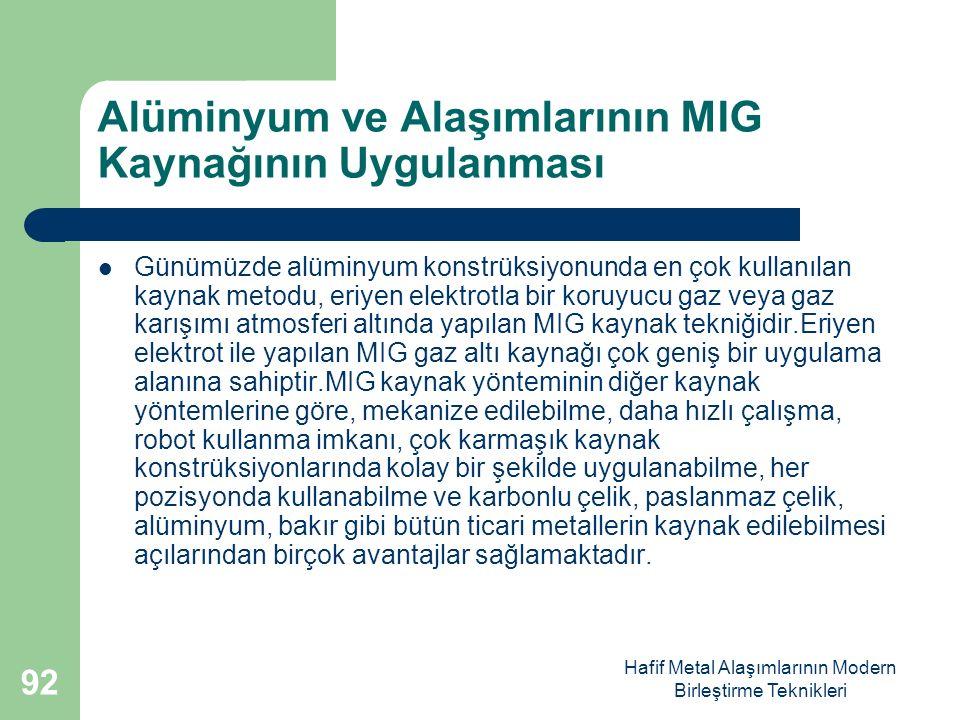 Hafif Metal Alaşımlarının Modern Birleştirme Teknikleri Alüminyum ve Alaşımlarının MIG Kaynağının Uygulanması Günümüzde alüminyum konstrüksiyonunda en çok kullanılan kaynak metodu, eriyen elektrotla bir koruyucu gaz veya gaz karışımı atmosferi altında yapılan MIG kaynak tekniğidir.Eriyen elektrot ile yapılan MIG gaz altı kaynağı çok geniş bir uygulama alanına sahiptir.MIG kaynak yönteminin diğer kaynak yöntemlerine göre, mekanize edilebilme, daha hızlı çalışma, robot kullanma imkanı, çok karmaşık kaynak konstrüksiyonlarında kolay bir şekilde uygulanabilme, her pozisyonda kullanabilme ve karbonlu çelik, paslanmaz çelik, alüminyum, bakır gibi bütün ticari metallerin kaynak edilebilmesi açılarından birçok avantajlar sağlamaktadır.