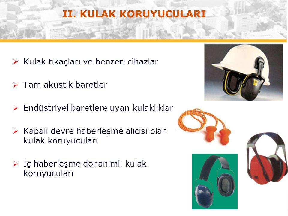  Kulak tıkaçları ve benzeri cihazlar  Tam akustik baretler  Endüstriyel baretlere uyan kulaklıklar  Kapalı devre haberleşme alıcısı olan kulak koruyucuları  İç haberleşme donanımlı kulak koruyucuları