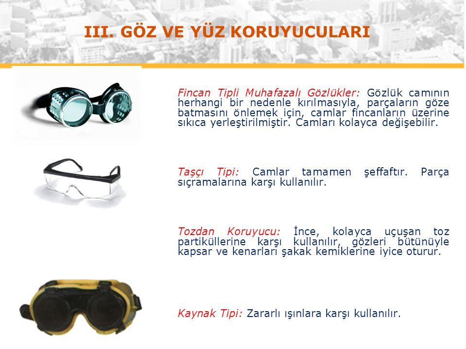 Fincan Tipli Muhafazalı Gözlükler: Gözlük camının herhangi bir nedenle kırılmasıyla, parçaların göze batmasını önlemek için, camlar fincanların üzerine sıkıca yerleştirilmiştir.