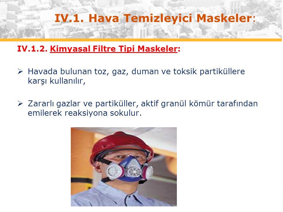 IV.1. Hava Temizleyici Maskeler: IV.1.2.