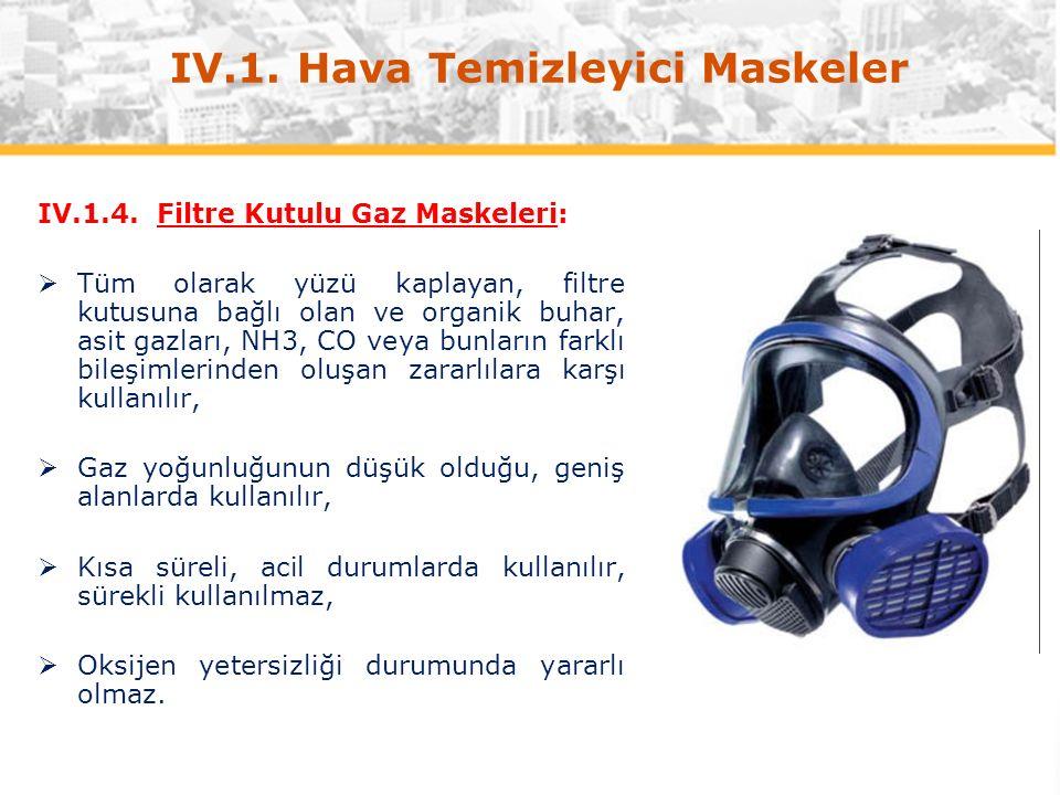 IV.1. Hava Temizleyici Maskeler IV.1.4.