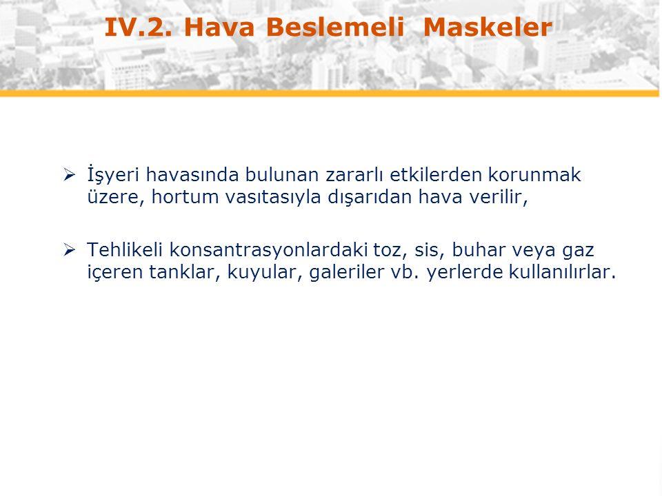IV.2. Hava Beslemeli Maskeler  İşyeri havasında bulunan zararlı etkilerden korunmak üzere, hortum vasıtasıyla dışarıdan hava verilir,  Tehlikeli kon