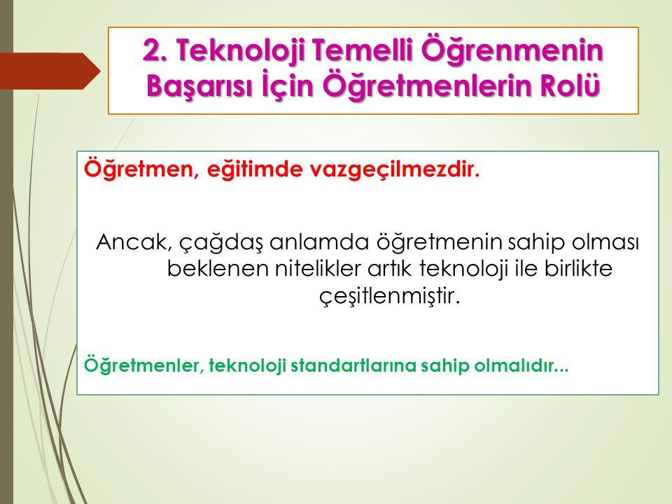 2. Teknoloji Temelli Öğrenmenin Başarısı İçin Öğretmenlerin Rolü Öğretmen, eğitimde vazgeçilmezdir.