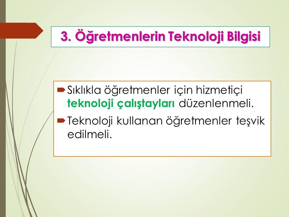 3. Öğretmenlerin Teknoloji Bilgisi  Sıklıkla öğretmenler için hizmetiçi teknoloji çalıştayları düzenlenmeli.  Teknoloji kullanan öğretmenler teşvik