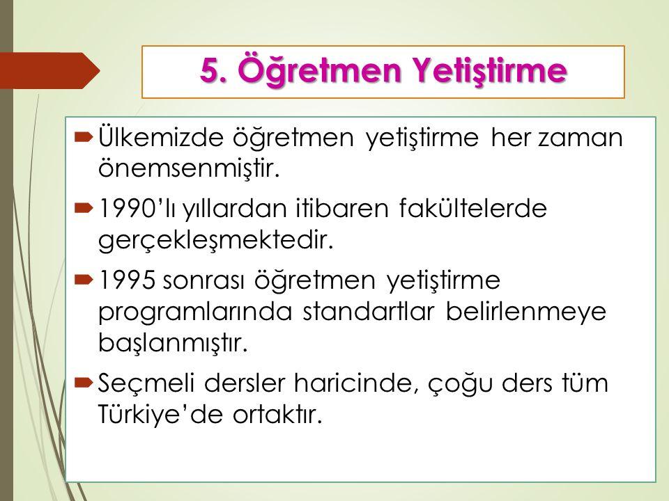 5.Öğretmen Yetiştirme  Ülkemizde öğretmen yetiştirme her zaman önemsenmiştir.