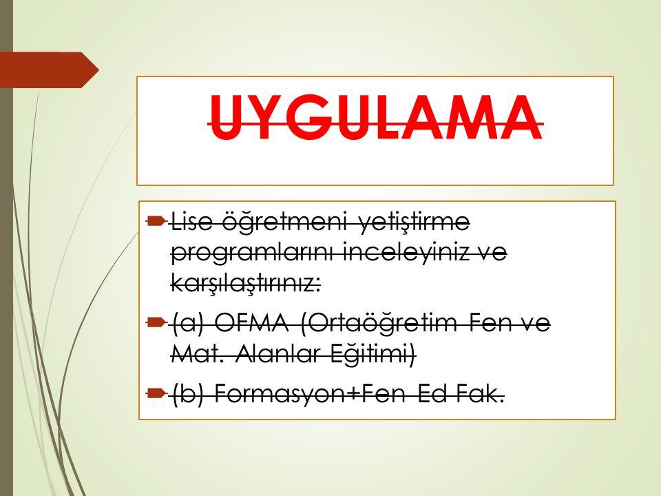 UYGULAMA  Lise öğretmeni yetiştirme programlarını inceleyiniz ve karşılaştırınız:  (a) OFMA (Ortaöğretim Fen ve Mat.