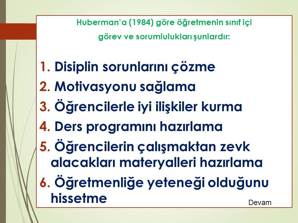 Huberman'a (1984) göre öğretmenin sınıf içi görev ve sorumlulukları şunlardır: 1.