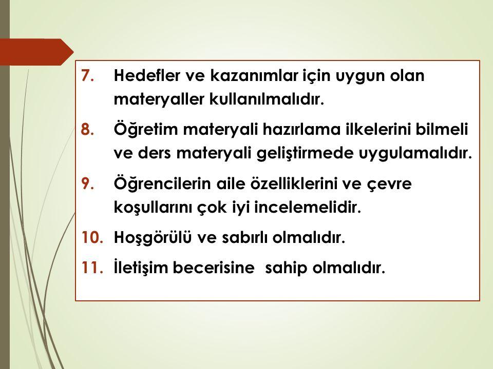 7.Hedefler ve kazanımlar için uygun olan materyaller kullanılmalıdır.