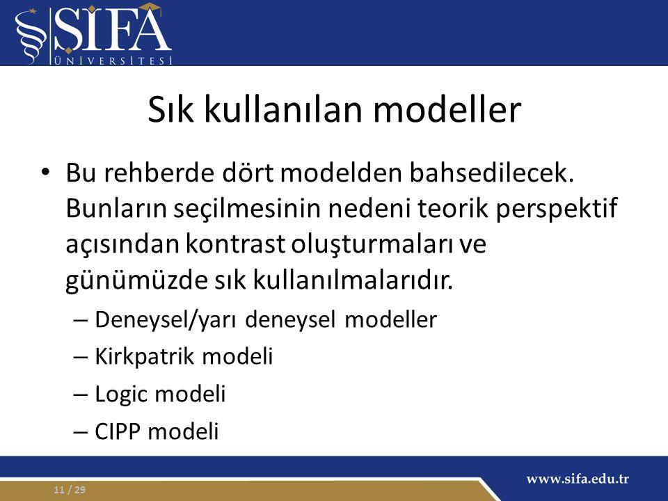 Sık kullanılan modeller Bu rehberde dört modelden bahsedilecek. Bunların seçilmesinin nedeni teorik perspektif açısından kontrast oluşturmaları ve gün