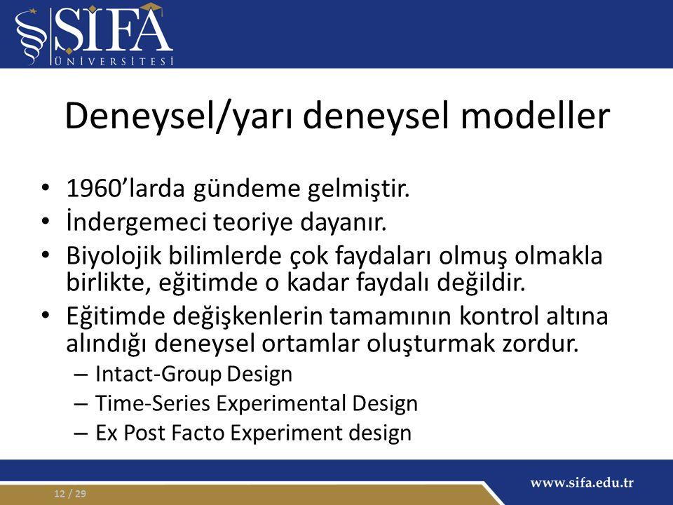 Deneysel/yarı deneysel modeller 1960'larda gündeme gelmiştir. İndergemeci teoriye dayanır. Biyolojik bilimlerde çok faydaları olmuş olmakla birlikte,