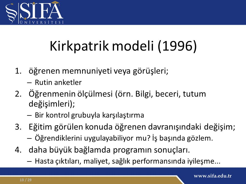 Kirkpatrik modeli (1996) 1.öğrenen memnuniyeti veya görüşleri; – Rutin anketler 2.Öğrenmenin ölçülmesi (örn. Bilgi, beceri, tutum değişimleri); – Bir