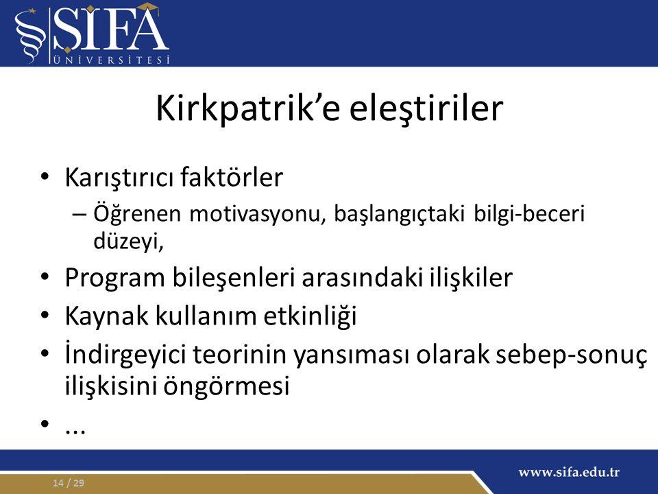 Kirkpatrik'e eleştiriler Karıştırıcı faktörler – Öğrenen motivasyonu, başlangıçtaki bilgi-beceri düzeyi, Program bileşenleri arasındaki ilişkiler Kayn