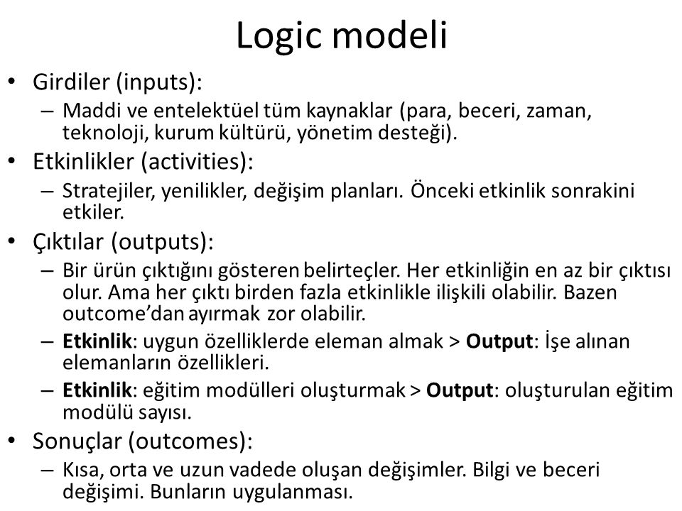 Logic modeli / 2918 Girdiler (inputs): – Maddi ve entelektüel tüm kaynaklar (para, beceri, zaman, teknoloji, kurum kültürü, yönetim desteği). Etkinlik
