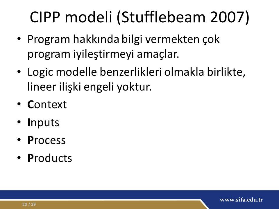 CIPP modeli (Stufflebeam 2007) Program hakkında bilgi vermekten çok program iyileştirmeyi amaçlar. Logic modelle benzerlikleri olmakla birlikte, linee