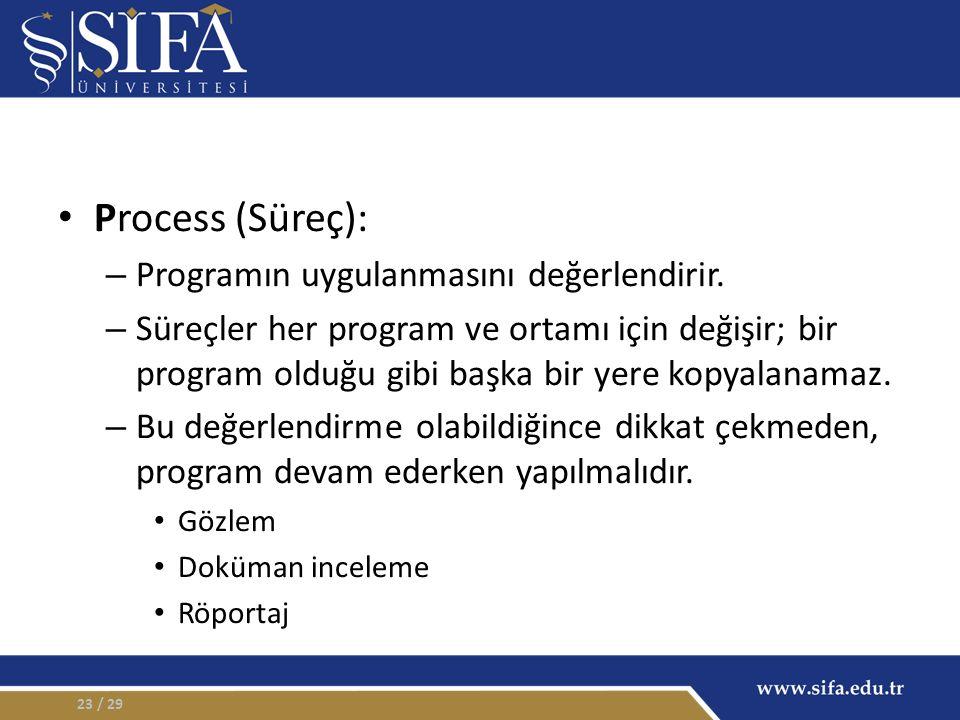 Process (Süreç): – Programın uygulanmasını değerlendirir.