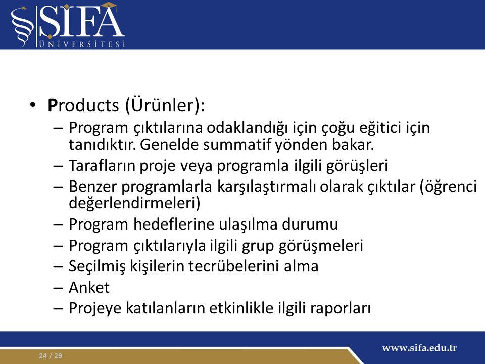 Products (Ürünler): – Program çıktılarına odaklandığı için çoğu eğitici için tanıdıktır.
