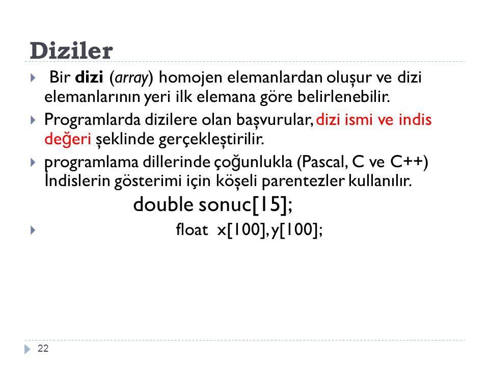 Dizi İndisleri  İ ndisin Üst Sınırı:  İ lk programlama dillerinin aksine, günümüzde popüler olan programlama dillerinde dizi indislerinin sayısı sınırlanmaz.