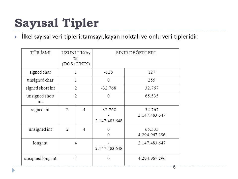 Integer (Tamsayı)  En bilinen temel veri tipi tamsayı (integer) dır.