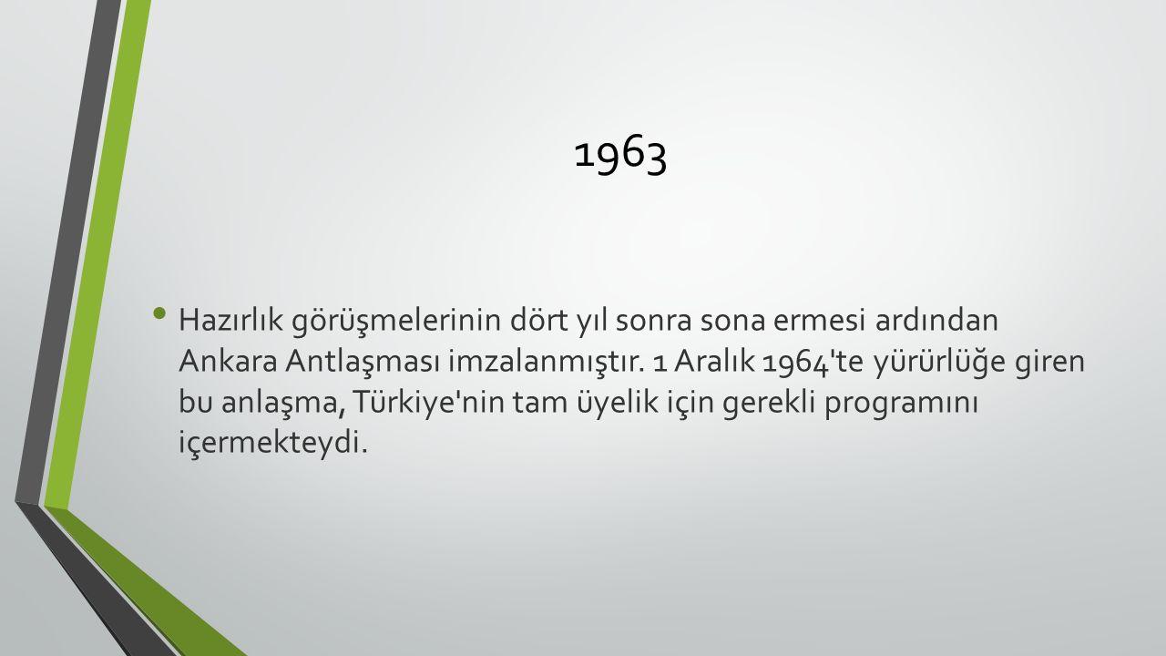 1963 Hazırlık görüşmelerinin dört yıl sonra sona ermesi ardından Ankara Antlaşması imzalanmıştır.