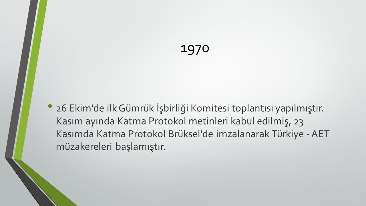 1970 26 Ekim de ilk Gümrük İşbirliği Komitesi toplantısı yapılmıştır.