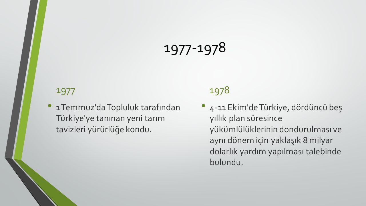 1977-1978 1977 1 Temmuz da Topluluk tarafından Türkiye ye tanınan yeni tarım tavizleri yürürlüğe kondu.