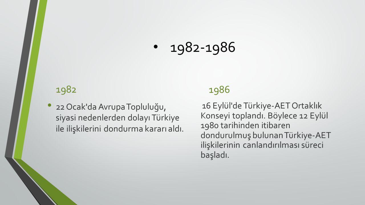 1982-1986 1982 22 Ocak da Avrupa Topluluğu, siyasi nedenlerden dolayı Türkiye ile ilişkilerini dondurma kararı aldı.