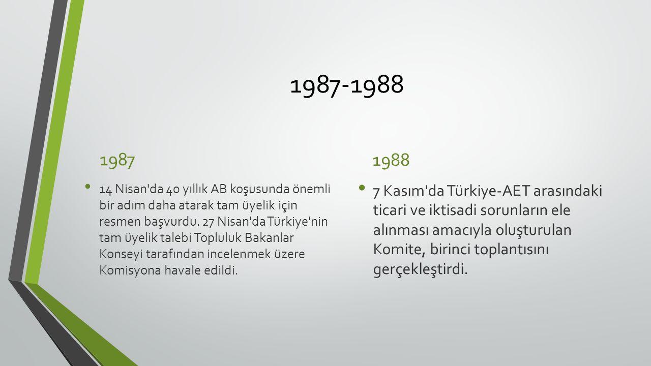 1987-1988 1987 14 Nisan da 40 yıllık AB koşusunda önemli bir adım daha atarak tam üyelik için resmen başvurdu.
