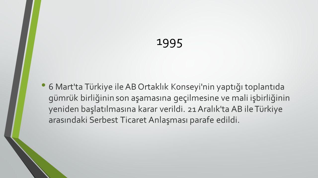 1995 6 Mart ta Türkiye ile AB Ortaklık Konseyi nin yaptığı toplantıda gümrük birliğinin son aşamasına geçilmesine ve mali işbirliğinin yeniden başlatılmasına karar verildi.