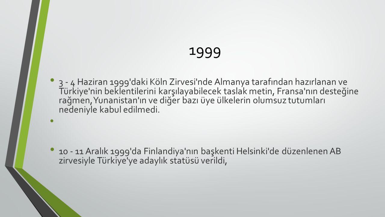 1999 3 - 4 Haziran 1999 daki Köln Zirvesi nde Almanya tarafından hazırlanan ve Türkiye nin beklentilerini karşılayabilecek taslak metin, Fransa nın desteğine rağmen, Yunanistan ın ve diğer bazı üye ülkelerin olumsuz tutumları nedeniyle kabul edilmedi.