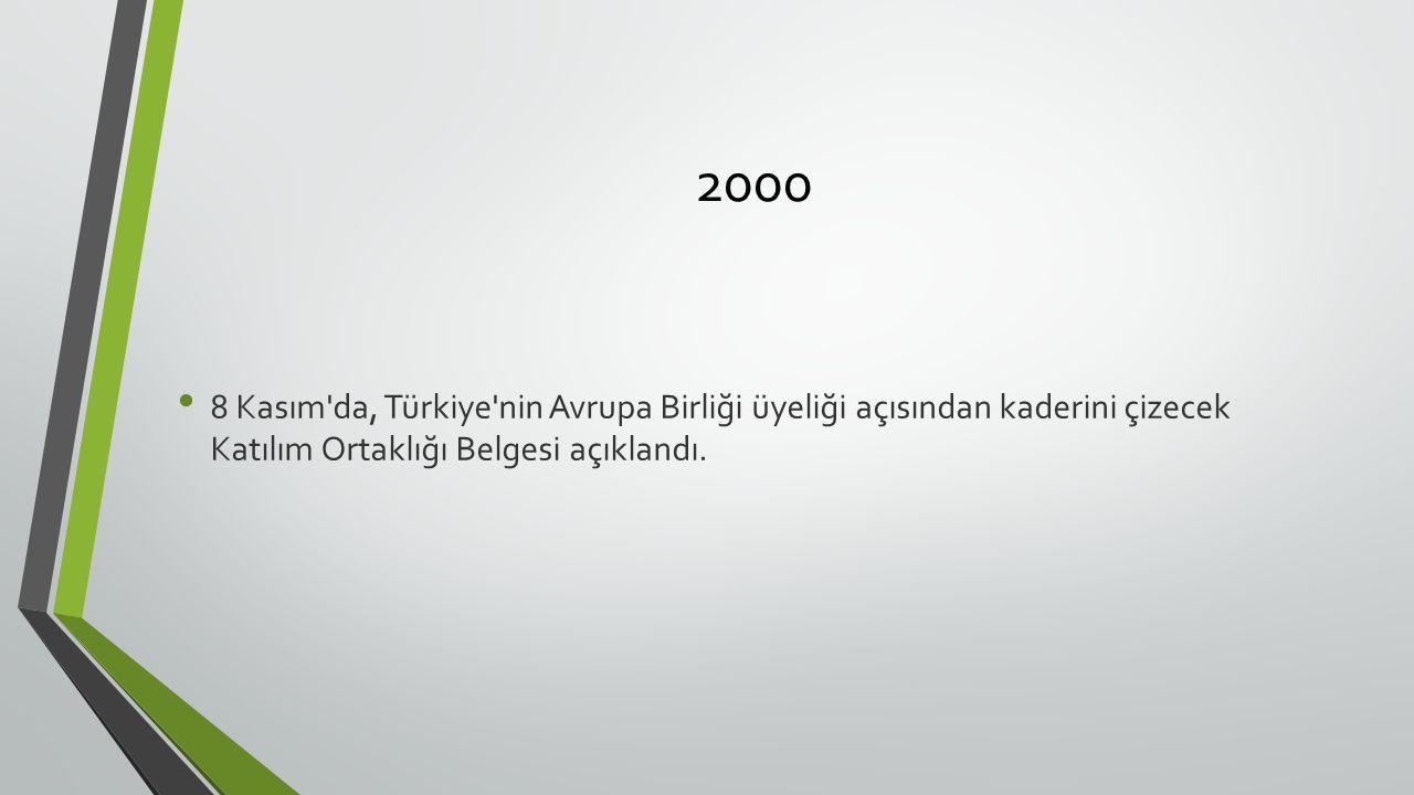 2000 8 Kasım da, Türkiye nin Avrupa Birliği üyeliği açısından kaderini çizecek Katılım Ortaklığı Belgesi açıklandı.