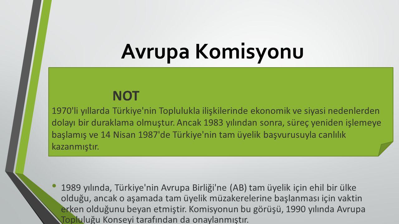 Avrupa Komisyonu 1989 yılında, Türkiye nin Avrupa Birliği ne (AB) tam üyelik için ehil bir ülke olduğu, ancak o aşamada tam üyelik müzakerelerine başlanması için vaktin erken olduğunu beyan etmiştir.