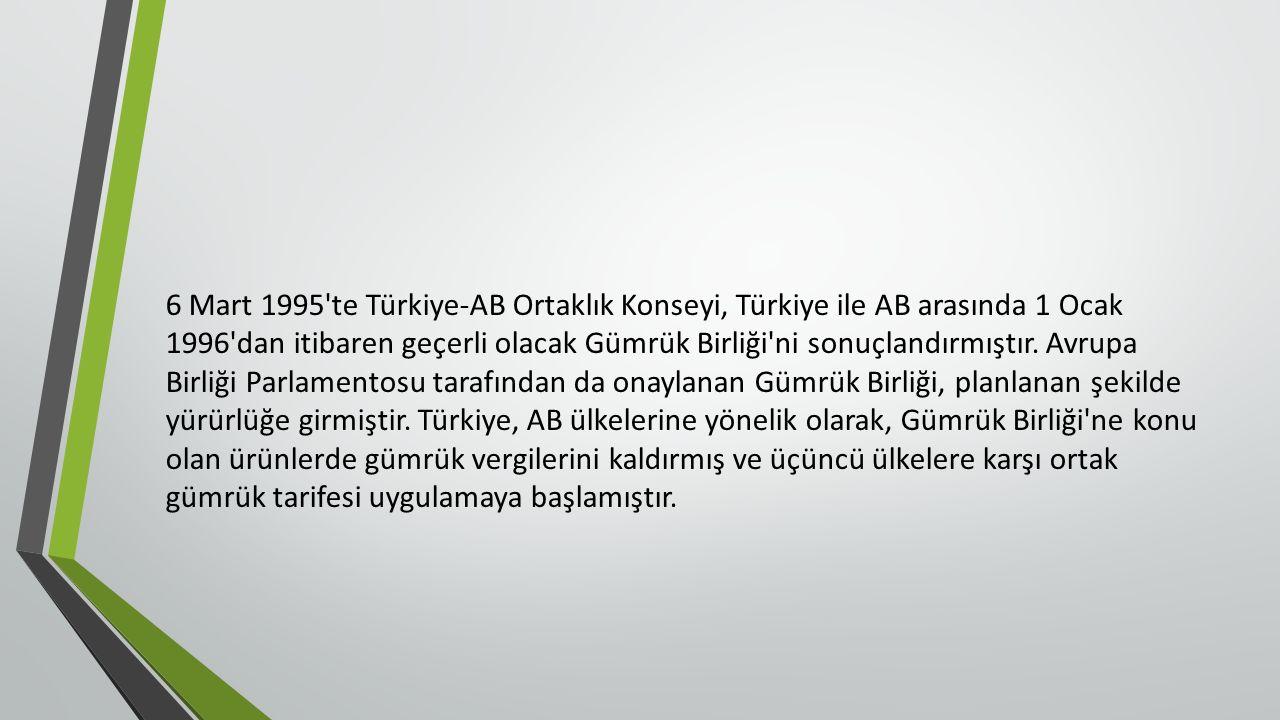 6 Mart 1995 te Türkiye-AB Ortaklık Konseyi, Türkiye ile AB arasında 1 Ocak 1996 dan itibaren geçerli olacak Gümrük Birliği ni sonuçlandırmıştır.