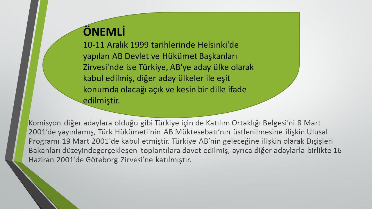 Komisyon diğer adaylara olduğu gibi Türkiye için de Katılım Ortaklığı Belgesi'ni 8 Mart 2001'de yayınlamış, Türk Hükümeti nin AB Müktesebatı'nın üstlenilmesine ilişkin Ulusal Programı 19 Mart 2001 de kabul etmiştir.